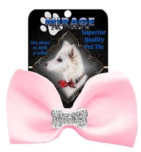 Crystal Bone Widget Pet Bowtie Light Pink